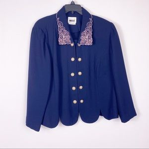 Vintage Leslie Fay embroidered scalloped blazer